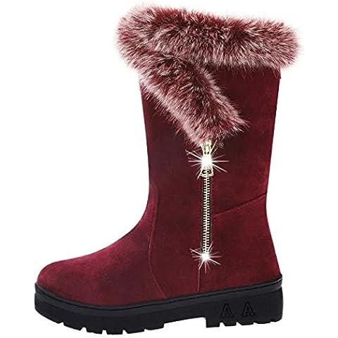 SHIXR Damas invierno conejo nieve mujer plana alta botas bajas y algod¨®n zapatos rojo negro , wine red ,