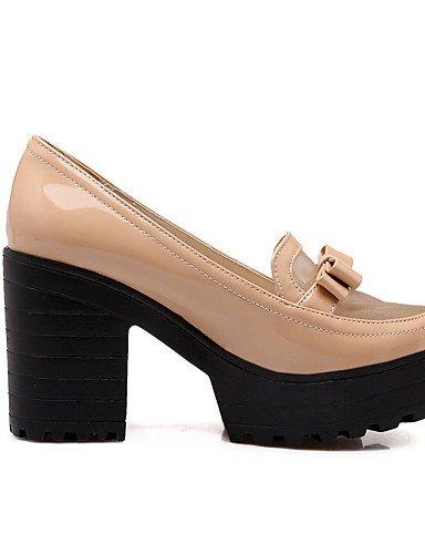 WSS 2016 Chaussures Femme-Bureau & Travail / Habillé / Décontracté / Soirée & Evénement-Noir / Blanc / Amande-Gros Talon-Talons-Chaussures à Talons black-us8 / eu39 / uk6 / cn39