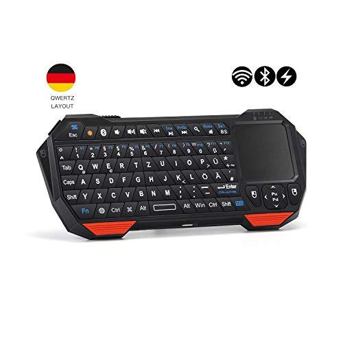 seenda Mini Kabellos Bluetooth Tastatur mit Touchpad Maus, Beleuchtet Geringes Gewicht Wiederaufladbar Tastatur Kompatibel mit Smartphones,Laptop,Tablets,PS4, Deutsches Layout,QWERTZ
