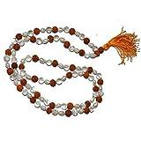 Rudra Divine Rudraksh+ Sphatik + Moti Japa Mala Rosary 108 + 1 Beads