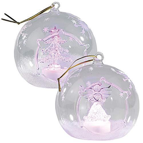 Lunartec Weihnachtskugeln: Mundgeblasene LED-Glas-Ornamente in Kugelform, 2er-Set (LED Glaskugeln)