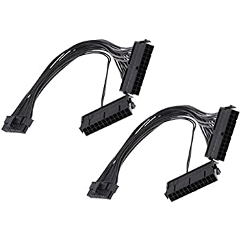 MagiDeal 2piece Dual PSU Power Supply 24-Pin ATX Motherboard Adapter Cable Electronic