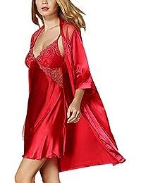 Femme 2 Pièces Robe de Chambre Chemise de Nuit en Satin Nuisette Lingerie Pyjama Peignoir