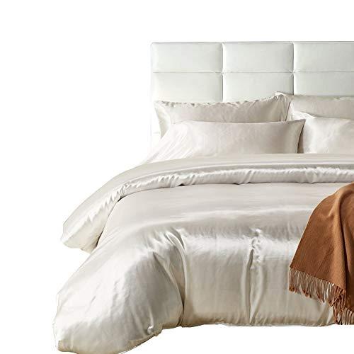 HOTNIU Voller Satin-Seidenbezug mit Reißverschluss - Ultra weich Prämie Qualität 3-teilige Bettwäsche-Sets - 100% Mikrofaser-Tröster Beschützer mit SHAM (Weiß, King Size) (Männer King-size-tröster-sets)