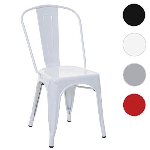 Stuhl HWC-A73, Bistrostuhl Stapelstuhl, Metall Industriedesign stapelbar ~ weiß