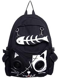 Banned-sac à dos blanc skele kitty-trousse sac avec haut-parleur