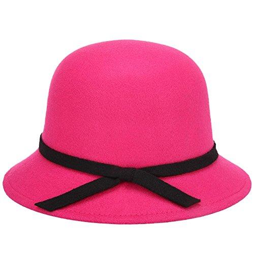 Rosa Eimer Hut (Vi.yo Frauen Dame Eimer Hut Vintage elegante Wollfilz Melone Hut Herbst Winter Hut Mütze mit bowknot breiter Krempe, 1 Stück (Rosa))