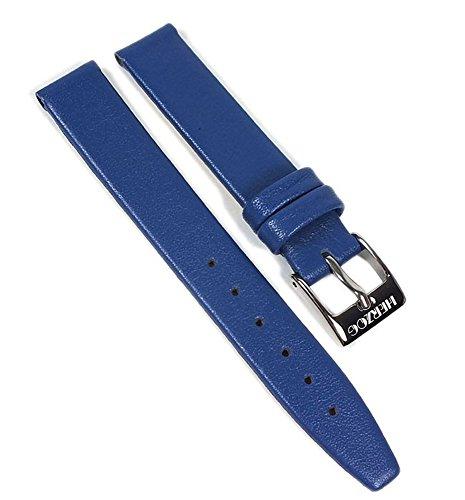 Kids-Antiallergie Leder Kinder Uhrenarmband Kalbleder extra kurz blau 22496S, Stegbreite:12mm