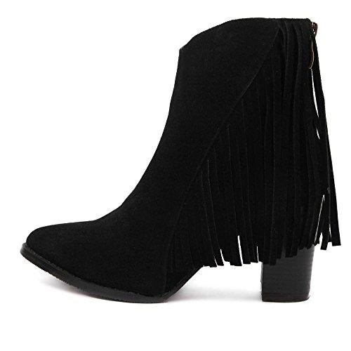 Damen High Heels Schuhe Herbst Winter Wildleder Stiefel Aufladungen Freien Quaste Stiefeletten Bootsschuhe Schlupfstiefel Martin Boots , black , EU36/UK4 (Wildleder-bootsschuhe)