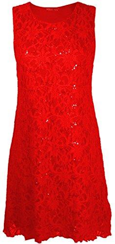 Chocolate Pickle® Nouveaux femmes Dentelle florale doublées Sparkly évasé de paillette Robe Haut 40-54 Red - Womens Flared Lace Dress