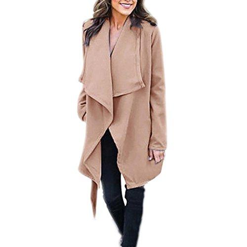 Internet Damen Bündel Solid Turn-down Kragen Lange Mantel Dicker Outwear Open Front Jacke (S, hellblau)
