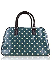 New Oilcloth Polka Dot/Flower/Owl Print Holdall Weekend Travel Bag (POLKA DOT GREEN)