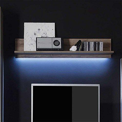 Wohnzimmer Wohnwand in Hochglanz Weiß Eiche dunkel (4-teilig) Mit Beleuchtung Pharao24 - 6