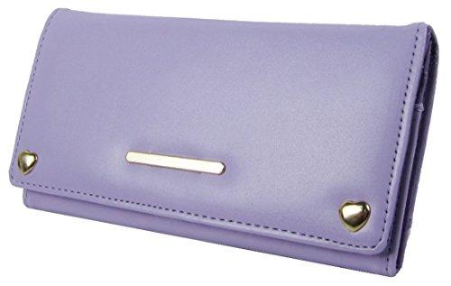 Barra Di Metallo Anteriore Kukubird & Cuore Forma Dettaglio Abbellimento Ladies Pelle Portafoglio Frizione Light Purple
