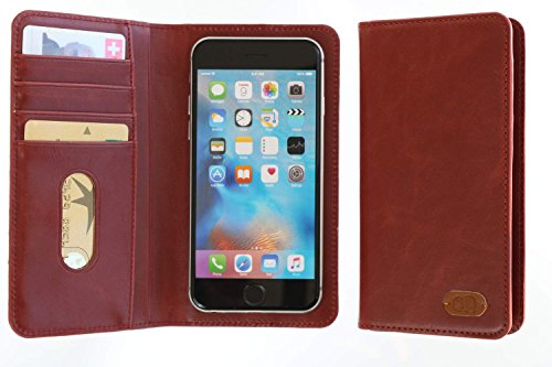 3Q Luxus Universal Handy-Hülle 5 Zoll bis 5.5 Zoll bis 4 Zoll Luxus Leder-Optik Durchdachtes Schiebemechanismus für Fotos Handy-Tasche Etui mit Fächern für Kreditkarte Geld Ausweis Schweizer Premium Design und Verpackung Cover Rot