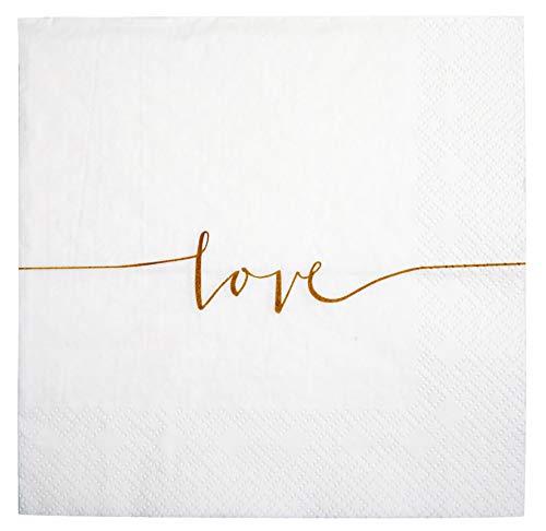 s Papier in weiß Love Hochzeits-Servietten Hochzeits-Dekoration (40) ()