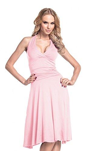 Glamour Empire. Damen Jersey Kleid Tiefer V-Ausschnitt Wickeloptik S-4XL. 145 (Pulver Rosa, EU 42, XL) - Neckholder Salsa