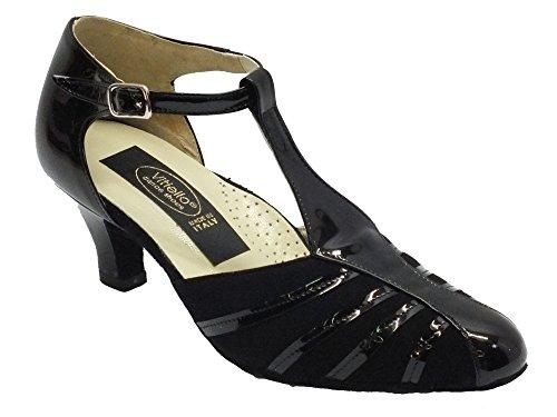 Scarpa da donna per ballo standard in vernice colore nero e camoscio tacco 50R (Taglia 35)
