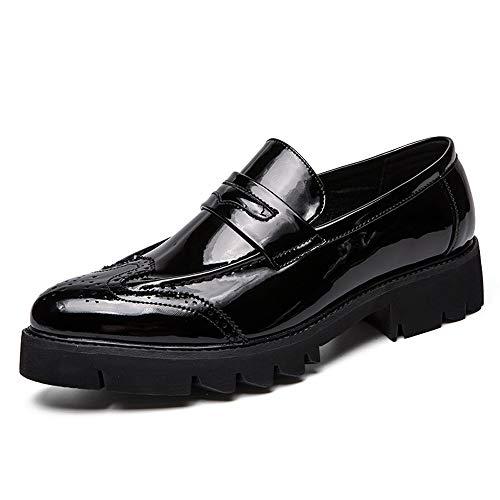 Herren Bestseller Oxford Schuhe Modische Oxford-Schuhe für Männer Brogue-Schuhe Slip-On-Stil Mikrofaser-Lederschuhe Klassische Laufsohle aus geschnitztem Lackleder Komfortable Oxfords Kleid Oxford Sch (Mikrofaser-slip Klassische)