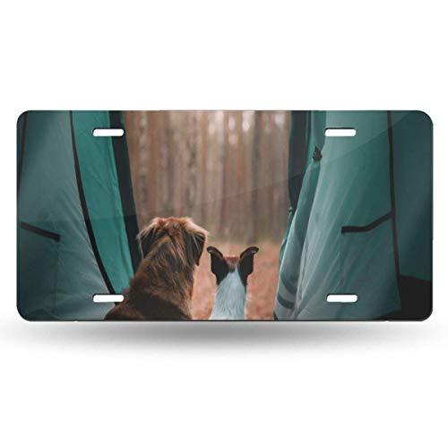FunnyCustom License Plate Frame Two Dogs in A Tent Personalized Aluminum Metal Tag Holder Waterproof 12 x 6 Inch Decoration