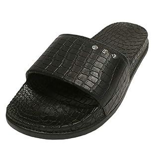 Linea Scarpa Ameland Beach Shoes Ladies Fußbett-Pantolette Croc Effect - Black, 41/42 EU (XL)