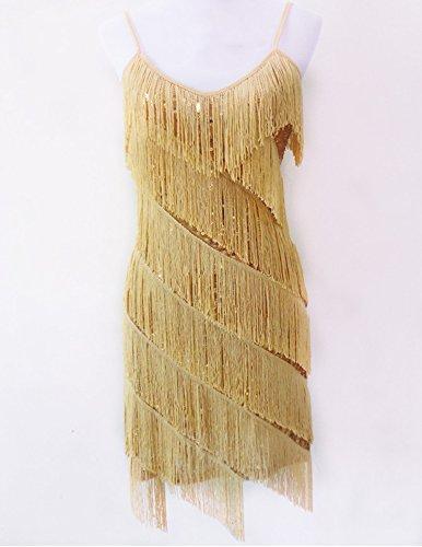 Damen Elegant Abendkleid Festlich Kleid Glitzer Vintage Ärmellos Tanz Kleider Aprikose Gold Einheitsgröße - 3