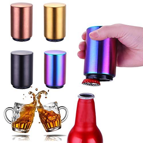 ner,Edelstahl Flaschenöffner Automatische Push Down Soda Bier Öffnungswerkzeug, Push Pull Kapselheber aus Edelstahl, Bottle-Opener, Bieröffner, lustiges Geschenk für Männe (Gold) ()