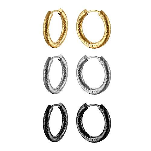 Oidea Damen Herren Ohrstecker Set (3 Paare), runde Kreis Creolen Ohrringe ohne Loch Fake Clip Ohrpiercing Non Piercing Schmuck, schwarz silber gold (20mm)