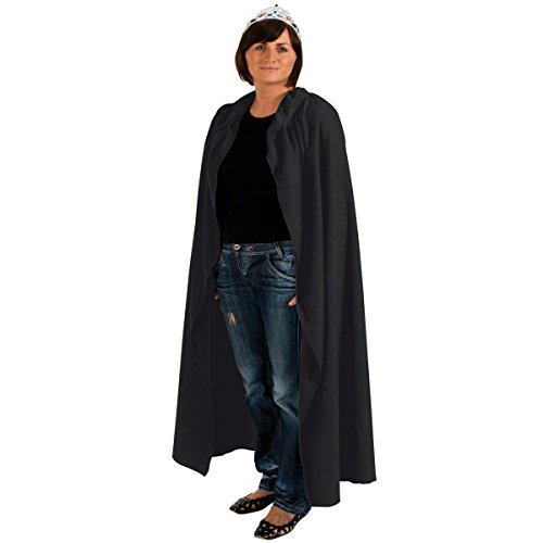 ADULT BLACK LONG HOODED COSTUME CLOAK CAPE ALL SIZE HALLOWEEN MEN or LADIES (Hooded Womens Black Cape)