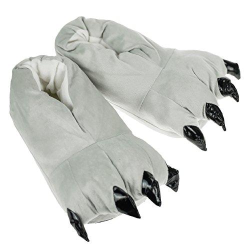 Tuopuda Zapatos Zapatillas Garras de Animal Traje de Disfraz para Adulto Unisex Carnaval Halloween de Terciopelo Felpa Zapatos Invierno (M ( EU 35-40 ), gris)