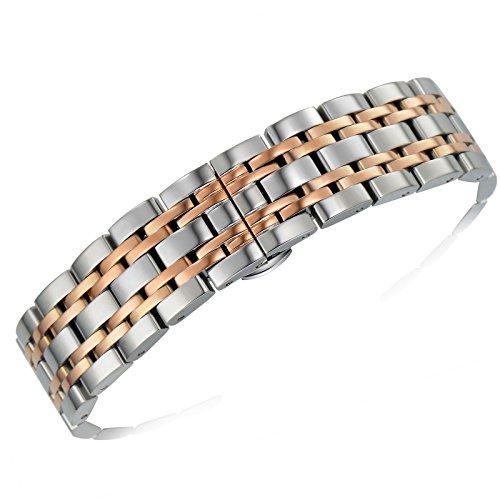 delle donne 20mm degli uomini di lusso due d'argento tono e rosa cinturini per orologi in metallo oro inox sostituzioni cinturino fibbia di distribuzione d'argento con pulsante collegamenti rimovibili