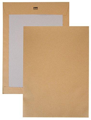 Idena 10249 - Versandtasche DIN C4, 120 g/m², haftklebend, ohne Fenster, mit Papprückwand, 100 Stück, FSC-Recycled, natron-braun