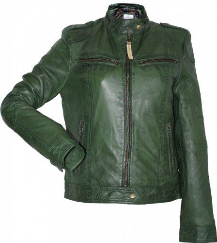 Damen Lederjacke Trend Fashion echtleder Jacke aus Lamm Nappa Leder grün, Größe:42