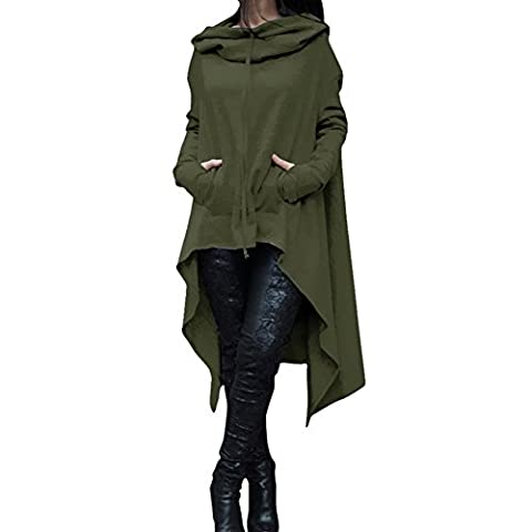Damen Unregelmäßige Strick Oversize Pullover Asymmetrisch Langarm Tunika Hemd Lose Hooded Sweatshirt Minikleid Olive L Highdas