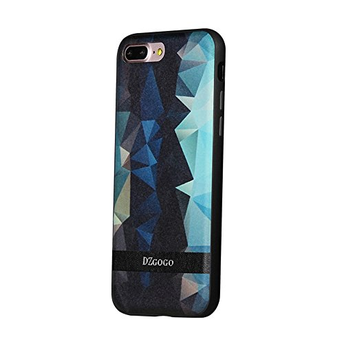 Hülle für iPhone 7 plus , Schutzhülle Für IPhone 7 Plus TPU + PU + PC Unregelmäßiger Rhombus Texture Combination Schutzhülle ,hülle für iPhone 7 plus , case for iphone 7 plus ( Color : Black ) Black
