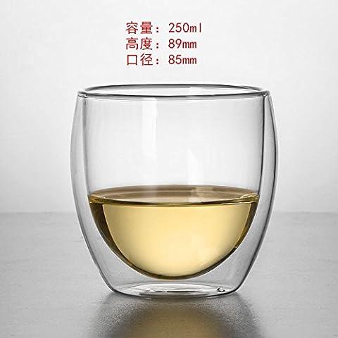 double verre transparent, tasse de thé, jus de fruit tasse, tasse à café latte pour la coupe,,250 ml (chi)