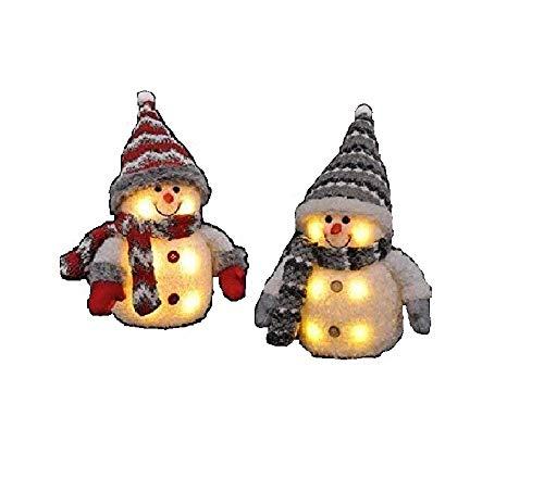 2x Schneemann mit LED bunter Schal & Mütze Höhe ca. 20 cm Beleuchtung warmweiß -