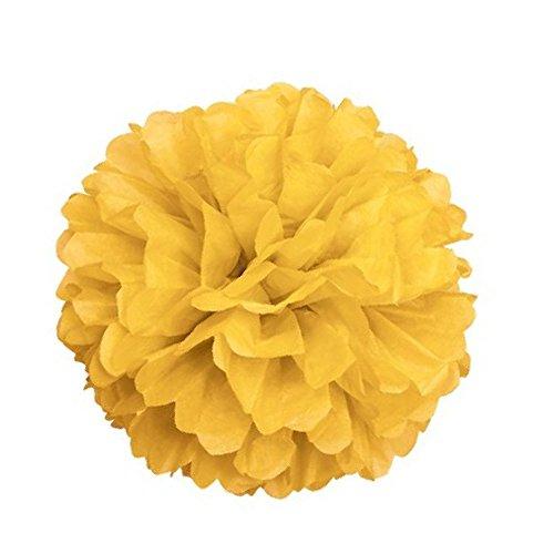 10x hochwertige Seidenpapier Pom Poms 25,4cm/25cm perfekt für Hochzeit Decor, Zimmer, Garten, Terrasse Dekorieren, etc., Gelb, 10 Inches