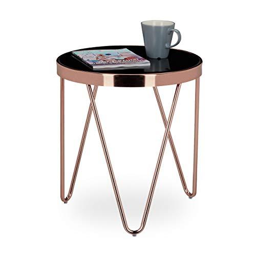 Relaxdays Beistelltisch COPPER aus Kupfer und Schwarzglas klein HBT: ca. 46 x 42 x 42 cm Glas Couchtisch in edlem Design als Glastisch und Sofatisch modern geschwungen mit Glasplatte, kupferfarben (Kaffee Tisch Mit Runder Stühlen)