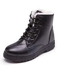 Botines Mujer Cuero Invierno Pelaje Piel Botas de Nieve Planos Casual Cordones Zapatos Comodos Zapatillas Boots