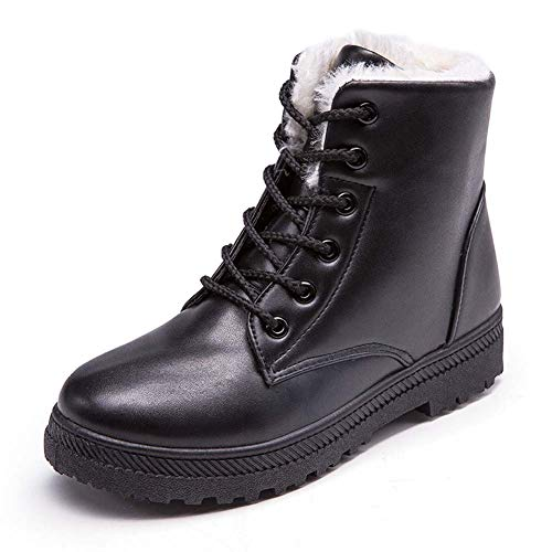 Stiefeletten Damen Leder Chelsea Boots Ankle Winterschuhe Schnüren Fell Gefüttert Schneestiefel Flach Winter Stiefel Plateau Casual Bequeme Schuhe Schwarz Weiß Braun Gr.35-43 BK41