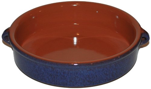 Amazing Cookware 20cm Terracotta Round Dish - 'Reactive Blue'