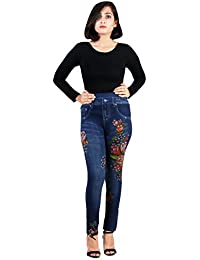 Tycos Blue Color Denim Style With Multi Color Flower Printed Jegging