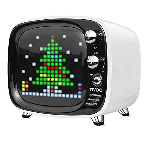 CE-LXYYD Divoom Tivoo Pixel Bluetooth-Lautsprecher, tragbarer drahtloser 6-W-Stereo-Boom-Basslautsprecher für den Innen- und Außenbereich, 8-stündige Spielzeit mit 3000-mah-Powerbank, langlebig,White (Beleuchtung Dj-stereo-system-mit)