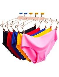 Egurs 5 pz. Ropa Interior sin Costuras Sexy para Mujer Lazo Ondulado de Alto elástico Lazo Apretado con Ajuste bajo de…