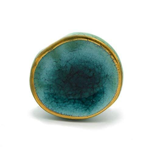 Pushka Home türkisblau grün & Gold gesprenkelte konkav Keramik seitig Schrank Türgriffe mit Gold fassung. Kunstvoll Stilvoll Shabby Chic 42mm griffe. wunderschön Verzierungen für Dekoration ihre Möbel