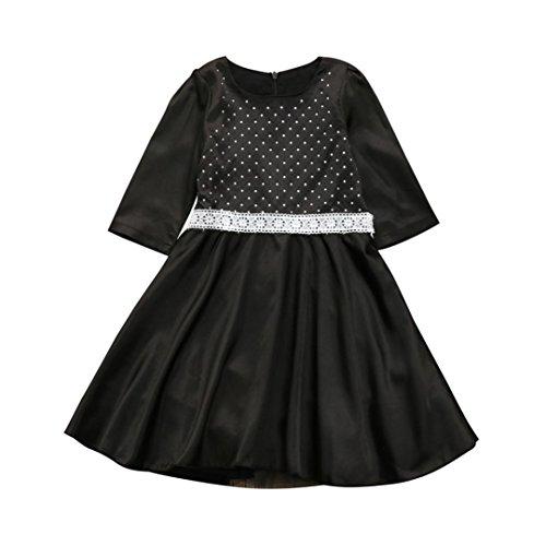 (Kobay Kleinkind Kinder Baby Mädchen Kleidung Spitze Kristall Kleid Party Kleid Prinzessin Kleid (100/3Jahr, Schwarz))