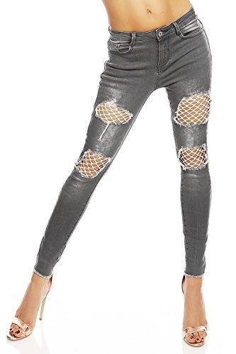 Mayaadi Damen Skinny-Jeans schöne Hose im Ripped-Look mit Netz Einlagen Grau