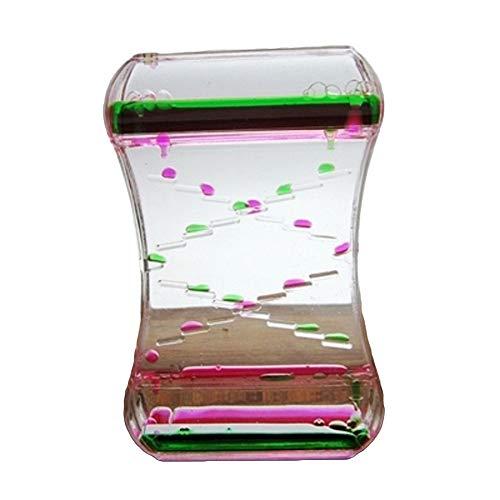 yongqxxkj Exquisite Tropföl Sanduhr-Flüssigkeitsbewegung Bubble Timer Schreibtisch Dekoration Kinder-Spielzeug Geburtstag Geschenk - Rot + Blau, acryl, Pink/Grün, Pink + Green