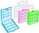 com-four 6X Batteriebox aus Kunststoff - Aufbewahrungsbox für Batterien und Akkus - Akkubox für AA und AAA (006 Stück - Bunt)
